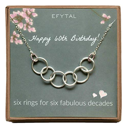 EFYTAL Happy 60th Birthday Gifts for Women Necklace, Sterling Silver 6 Rings six Decades Necklaces Gift -