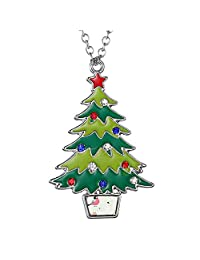 FANSING Jewelry Christmas Santa Claus Snowman Tree Bell Deer Pendant Necklace Ring & Brooches & Pins