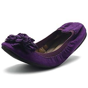Ollio Women's Shoes Faux Suede Decorative Flower Slip On Comfort Light Ballet Flat