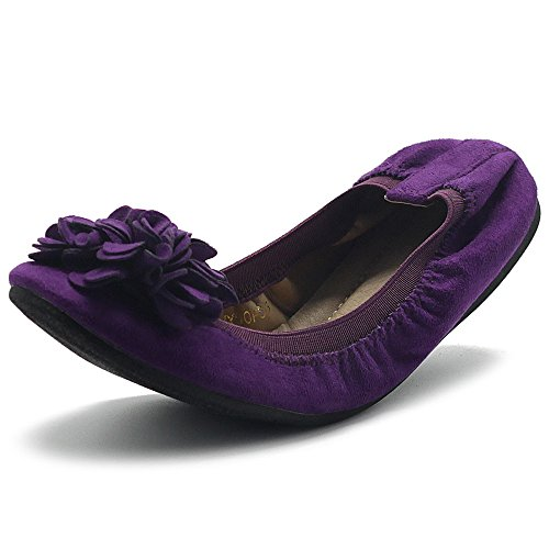 Ollio Women's Shoes Faux Suede Decorative Flower Slip On Comfort Light Ballet Flat ZY00F55 (10 B(M) US, Purple) (Women Purple Shoes)
