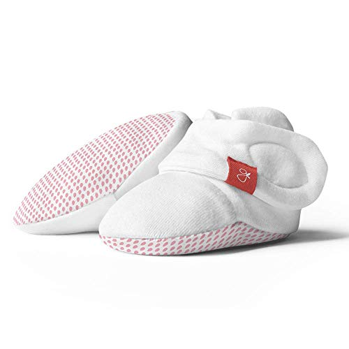 Baby Booties, Adjustable, Soft & Secure (Drops/Pink, 3-6 Months)