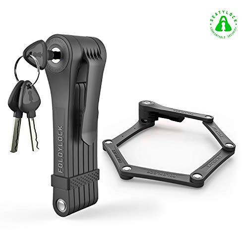 Foldylock Clipster Folding Bike Lock   Wearable Compact Bicycle Lock   Heavy Duty Fold Bike Lock   Anti Pick Bike Folding Lock with Key Set   Weight 2.2lb - Black (Best Wearable Bike Lock)