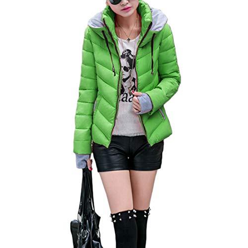 Mantieni Alto Paragrafo Collo Fulision Inverno Colore E Tasca Breve Guanti Cappotto Verde Femminile Cerniera Splicing Caldo Autunno XUUw0v
