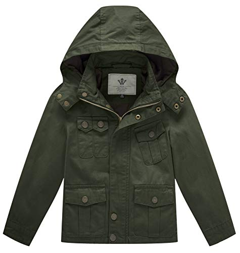 WenVen Boy's and Girl's Cotton Jackets with Removable Hood, Green, 6-7Y