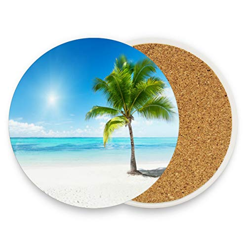 Palm Tree On Beach Summer Bright Blue Ocean Sky Coasters, Protect Your Furniture from Stains,Coffee, Cork Coasters Funny Housewarming Gift,Round Cup Mat Pad for Home, Kitchen or Bar Set of 4