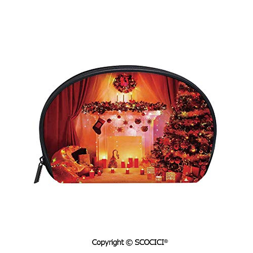 - SCOCICI Women Small Portable Cosmetic Bag Storage Bag Noel Room Decorated with Bunch of Holly Yule Objects Illuminated Fantasy Eve Picture Mini Storage Bag for Daily Travel