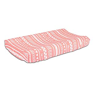 Coral Pink Tribal Print 100% Cotton Changing Pad Cover by The Peanut Shell
