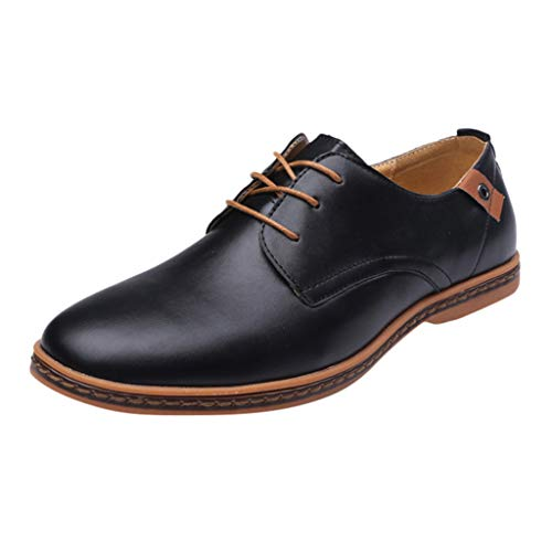 Comfortable Business Dress Shoes for Men-RQWEIN Mens Cap Toe Oxford Leather Lace Up Classic Modern Formal Oxfords Shoes