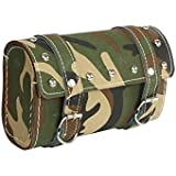 Motoway Bike Leatherette Seat Square Saddle Bag For Royal Enfield Classic 350 (Army Print)