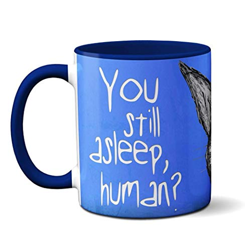 Peeking Cat Mug by Pithitude - One Single 11oz.Blue Coffee Cup