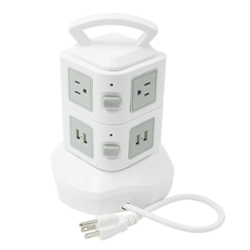 Linko Multi-Functional CE listed Extension Cord, Power Strip, Charging Station Tower: 6-Outlet Surge Protector with 4 USB Charging Ports Overload Protection, 6.5 Feet Cord. 2 Tiers Tower White