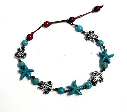 Anklet or Bracelet Turtle Starfish Blue Turquoise Color Bead Beautiful 26 cm.Handmade