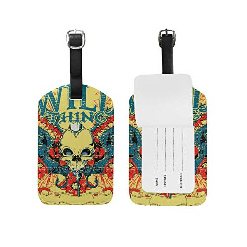 YhouqukehTshirt Wild King Skull Luggage Tags USA Travel Air Label Card Set Of 2