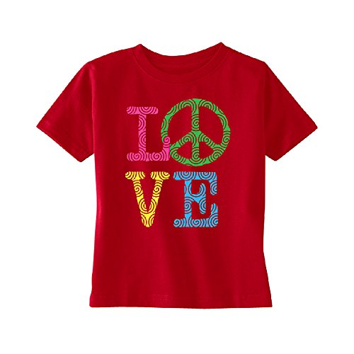 Neon Puff - Love Peace Sign Toddler T-Shirt Souvenir Kids Red 5T by Zexpa Apparel