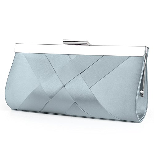 Bidear Satin Evening Bag Clutch, Party Purse, Wedding Handbag with Chain Strap for Women Girl (Light Blue)