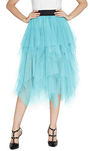 Urban Jupe Couch en Bleu Clair Femme Taille Vintage Longue Mi Petticoat Tulle Tutu Multi Elastique Jupon GoCo nYnx4r