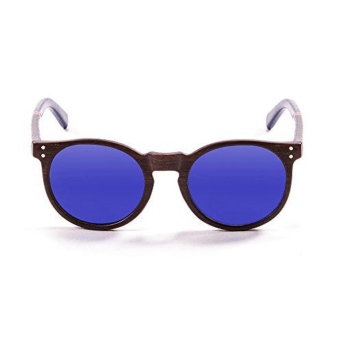 Ocean Sunglasses Lizard Lunettes de Soleil Mixte Adulte, Bambo Dark Frame/Wood Dark Red/Blue Arms/Revo Blue Lens