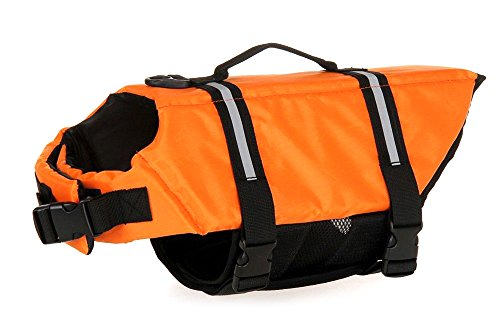 Blytieor Dog Life Jackets Life Saver Preserver Vest with Extra Padding and Extreme Bright Color for Dogs (Orange