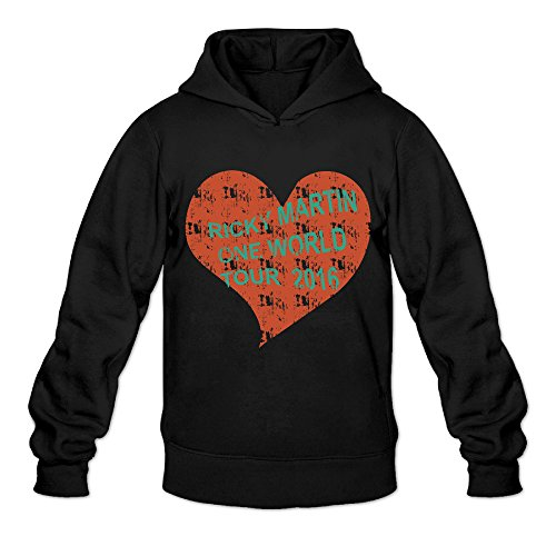 Vintage Love Ricky Martin One Word Tour Classic Men's Hooded Sweatshirts Black M -