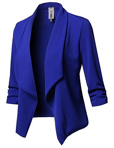 Solid Stretch 3/4 Gathered Sleeve Open Blazer Jacket Royal Size S
