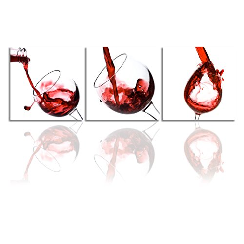 - Canvas Wall Prints, 3 Panels Modern Red Wine Cup Decor Wall Art Ready To Hang For Kitchen Dinning Room 3 pcs 12