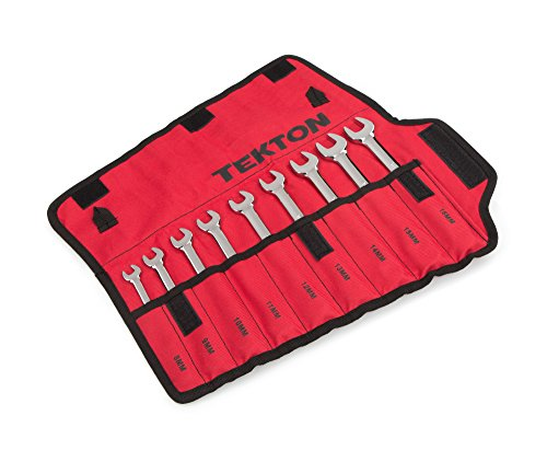 TEKTON Combination Wrench Set with Roll-up Storage Pouch, Metric, 8 mm - 16 mm, 9-Piece | WRN03387