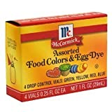McCormick Food Colors & Egg Dye, Four Assorted, 0.25-Ounce Vials