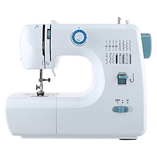 Voluker Portable Household Lightweight Multifunction Sewing Machine 2-Speed Double Thread Electric and Speed Free-Arm Crafting Mending Machine with 16 Stitch – Blue