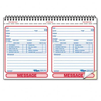 TOPS® Spiralbound Message Book BOOK,PHONE REC,NCR,200ST (Pack of10) by Tops