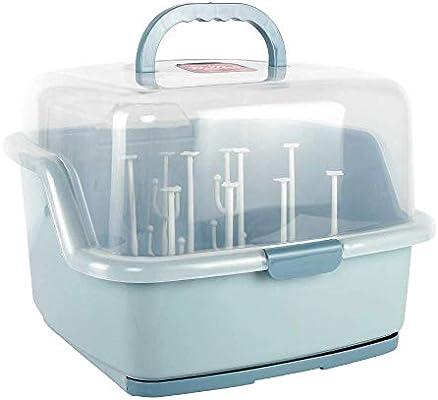 TOYANDONA Baby Bottle Drying Rack Storage Large Nursing Bottle Storage Box Organizer with Cover Protect from Bugs Dust Portable Kitchen Cabinet Organizer Blue