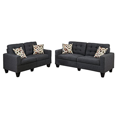 Modern Sofa And Loveseat In 2 Piece Set With Tufted Seat and Toss Pillows With Removable Legs plus FREE GIFT (Blue / Grey)