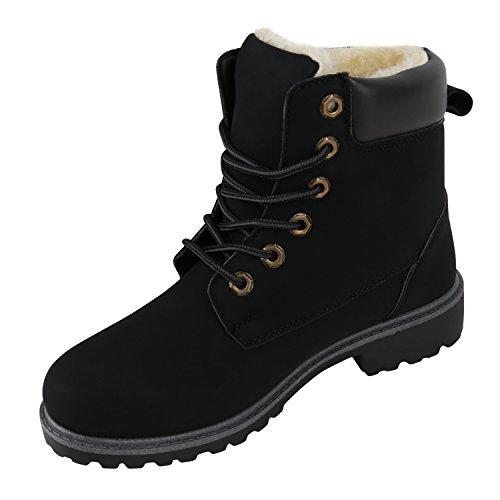 Stiefelparadies - Stivali Donna, nero (nero/grigio), 36 EU