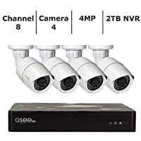 Q-See HD IP Surveillance System 8-Channel HD IP NVR with 2TB Hard Drive, 4-4MP H.265 Security Cameras, Black (QT878-4AP-2)