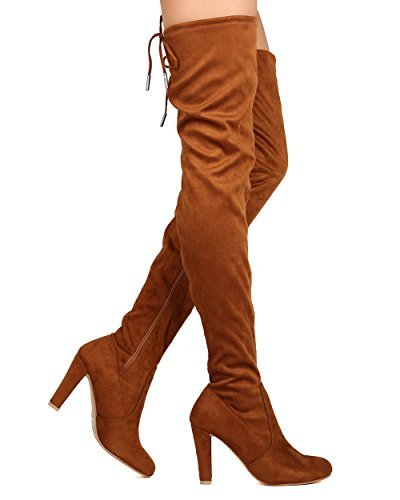 High Pull Knee (Eve 01 Womens Stretchy Thigh High Pull String Chunk Heel Combat Boots Camel 8.5)