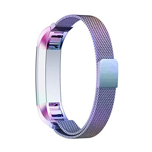 """COOLEAD Fitbit Ace Band, Replacement Strap for Kids Fitbit, Stainless Steel Fitness Tracker Bands For Fitbit Alra/Alta HR/Ace, Small Size 4.7""""- 7.0"""" for Kids Women (Colorful)"""