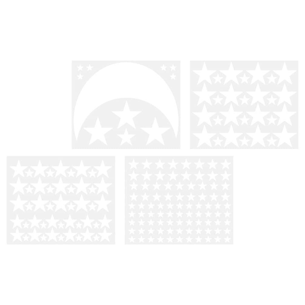 BESPORTBLE 4pcs Ramadan Mubarak Moon Stars Wall Decals Adhesive Muslim Islam Eid Vinyl Wall Sticker Good Night Nursery Wall Decor for Kids Boy Girls Baby Room Decoration White
