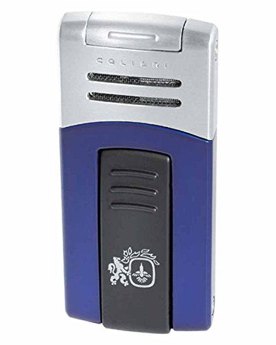 Syndicate Quantum Single Torch Flame Cigar Lighter in an Attractive Gift Box Blue Matte Satin Silver