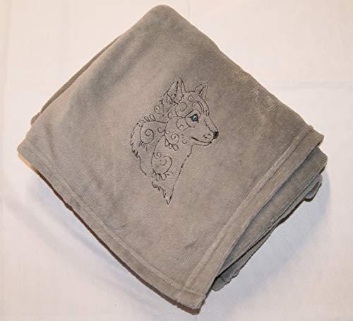 Henna Tattoo Wolf Micro Fleece Grey Throw Blanket 50