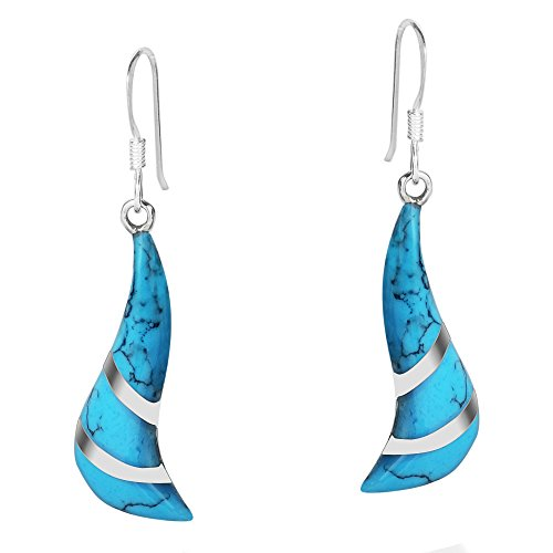 Silver Turquoise Sterling Inlay Blue (Chic Blue Simulated Turquoise Inlay Spiral .925 Sterling Silver Dangle Earrings)