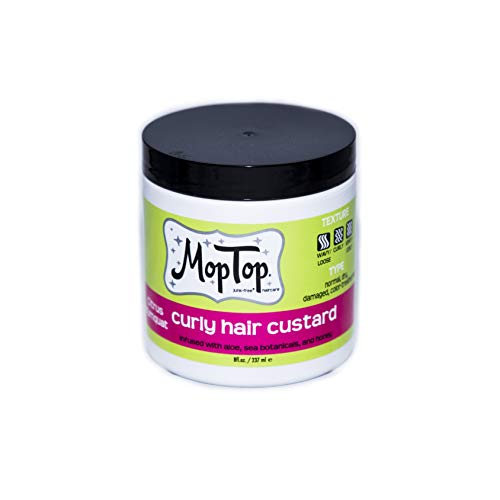8oz, MopTop Curly Hair Custard Gel for Fine, Thick, Wavy, Curly & Kinky-Coily Natural hair, Anti Frizz Curl Moisturizer, Definer & Lightweight Curl Activator w/Aloe, great for Dry Hair. (8oz)
