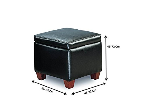 Coaster Causal Faux Leather Storage Cube Ottoman, Black by Coaster Home Furnishings (Image #2)