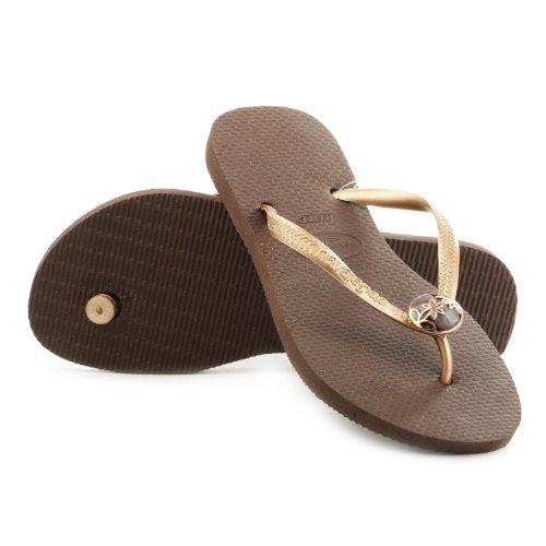 Havaianas Women's Slim Flower Flip Flop,Dark Brown,37 BR/7/8 M US