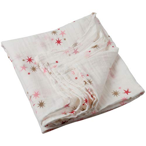 Boy and Girl 100% Cotton Swaddle Blanket, Cute Baby Bamboo Muslin Blankets for Large Size 47 x 47 inches (Star)