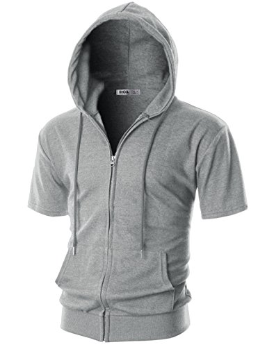 (OHOO Mens Slim Fit Short Sleeve Lightweight One-Tone Zip-up Hoodie with Kanga Pocket/DCF056-GREY-S)