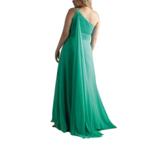 Spalte Mantel Tuerkis Applikationen einer mit Schulter Perlen bodenlangen Abendkleid GEORGE BRIDE q1Exw54