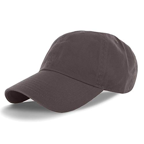 (Plain 100% Cotton Adjustable Baseball Cap Brown, One Size )