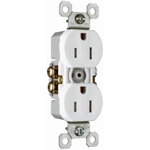 Pass & Seymour 3232TRWCP8 Duplex Outlet, Tamper Resistant Grounded, 15-Amp, 125-volt, White, 10-Pack ()