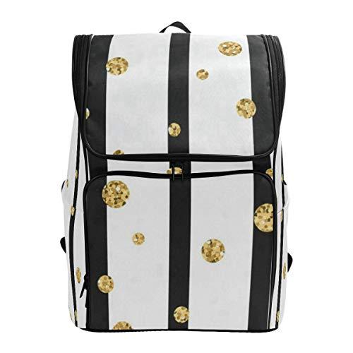 (Travel Backpack Gold Polka Dot On Lines College Backpack for Women Large Backpacking Daypack)