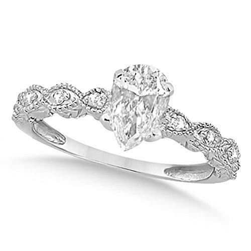 Women's Preset Pear-Cut Antique Diamond Engagement Ring in 14k White Gold (1.00 carat) ()
