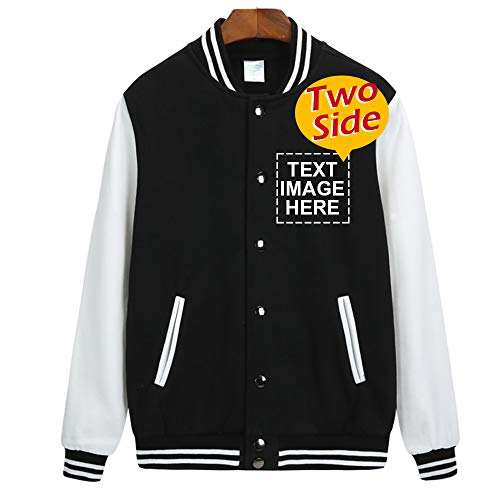 Design Your Own Varsity Jacket Print Logo or Name, Custom Student Uniform Black]()